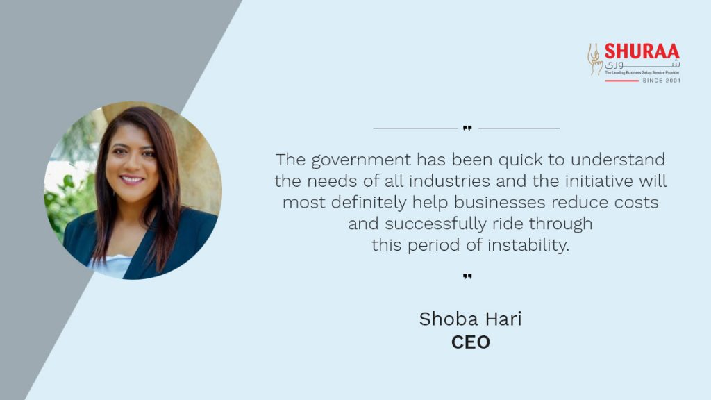 Shoba Hari, CEO of Shuraa Management & Consultancy, commenting on the economic stimulus package introduced by the Dubai Government